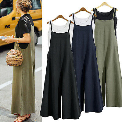 Women Cotton Linen Loose Wide Leg Jumpsuit Ladies Overall Long Trousers Pants