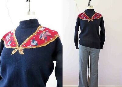 Vintage 80s Sussan Navy Floral Yoke Wool Jumper Med  Buy 3+items for FREE Post
