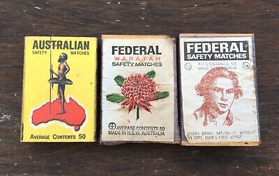 Vintage Matchboxes x 3  Australian matches Federal Safety Matches