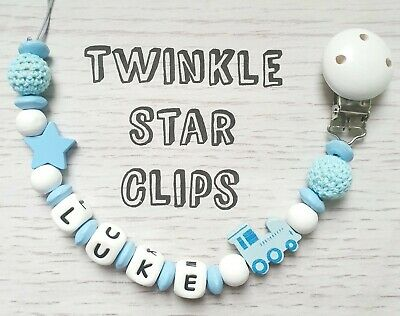 Personalised Wooden Dummy Clip Handmade Baby Train Crochet Silicone Letters Love