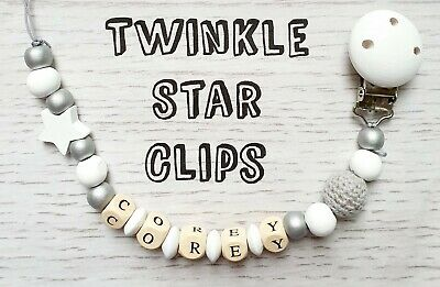 Personalised Wooden Dummy Clip Grey White Gift Baby Christening Unisex Natural