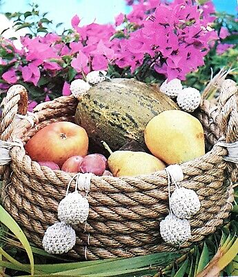 Vintage Raffia Weaving Coiled  Rope Fruit Basket with Pom poms  Pattern