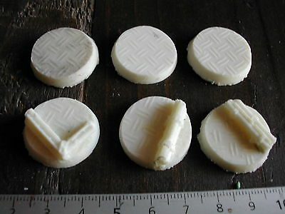 6x SOCLES/BASES ROND/ROUND 25MM RESINE TECHNICAL (NECROMUNDA/W40K... etc)  #216