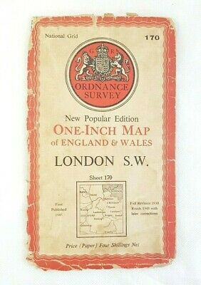 "Vintage Ordnance Survey One-Inch Map - Sheet 170 LONDON S.W - 1948 OS 1"" Maps"