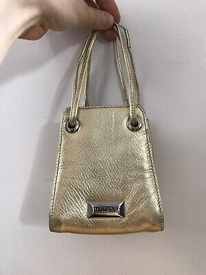 a361388a7fc Moschino gold leather small trendy evening bucket bag handbag purse