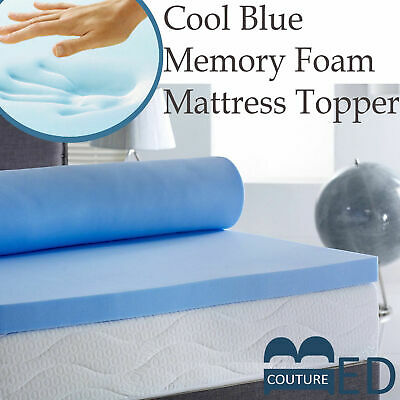 Lavish Cool Blue Touch Memory Foam Cooling Mattress Topper In All Sizes & Depths