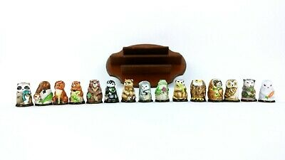 Thimble Collection 1982 Friends of the Forest 15 Piece Set with Wood Display