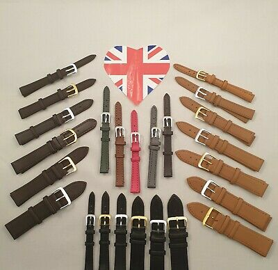 Mens Ladies Genuine Leather Watch Strap Band Colour Collection Sizes 8mm - 22mm