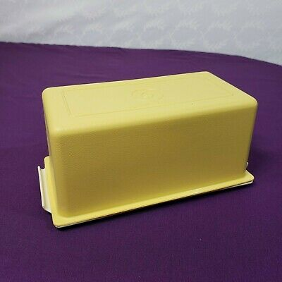 Vintage 1 Lb. Tupperware Harvest Gold Covered Butter Dish Almond Tray FREE SHIP