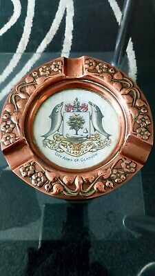 Copper Arts & Crafts Style Ashtray With Glass Bottom With Glasgow City Of Arms