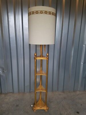 Vintage French Regency Style Tiered Gold Floor Lamp with Original Shade