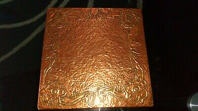 Copper Arts & Crafts Style Hand Beaten Placemat 155 Mm Square Hardboard Internal