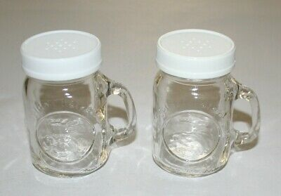 Vintage Salt & Pepper Shakers, Golden Harvest Ball Mason Jar Mugs Clear Glass
