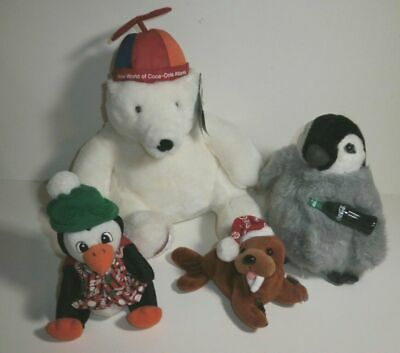 2cd79e282 LOT OF 6 Coca-Cola Collectible Beanies Plush Walrus Reindeer Seal ...