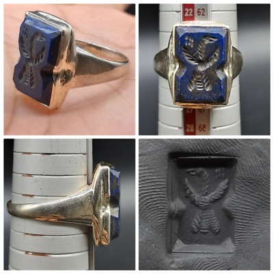 Very Ancient Lapis Lazuli Roman Period Bird Lago Ingalio Solid Sliver Uniqe Ring