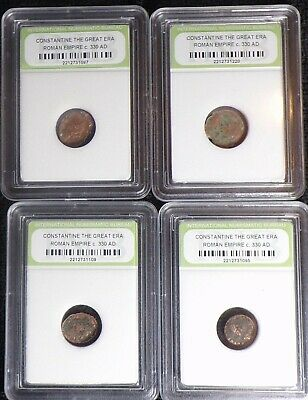 LOT OF 4) 1700 YEARS OLD COINS Constantine The Great Roman Empire 330AD SLABBED