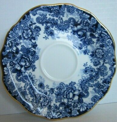 Hammersley & Co Fine Bone China Navy Blue White Gold Victorian Saucer Scalloped