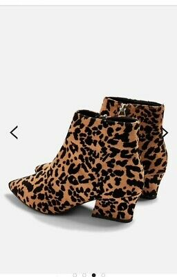 2835c2ccc9c1 Topshop Block Heel Leopard Print black and Amber Ankle Boots Size 5 new