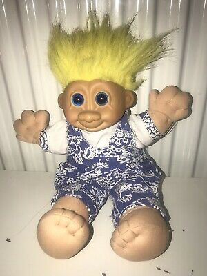 RUSS Troll Doll Toy Vintage Patterned Play suit Yellow Hair Large