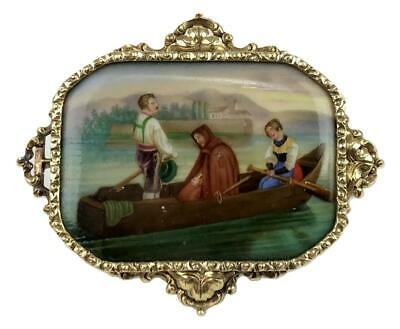 Antique 19thC Victorian Grand Tour Micro Painting Porcelain 14K Gold Pin Brooch