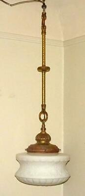 Vtg Art Deco Pendant Ceiling Fixture Antique Solid Brass Art Deco Chandelier #2