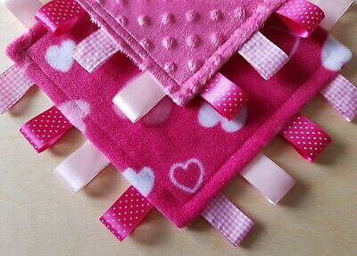Taggy Blanket, Pink Minky Fleece Baby Girls Blanket, Sensory Toy, Comforter Gift