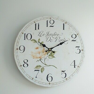 White Vintage Retro Wooden Round Wall Clock Rose detail Design Antique clock new
