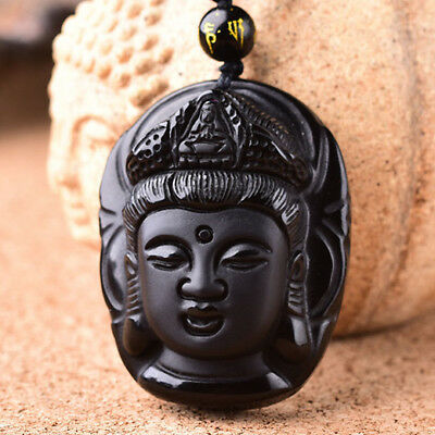 """Natural Obsidian Chinese Hand Carved """"Jade Guanyin Head"""" Necklace Pendant"""