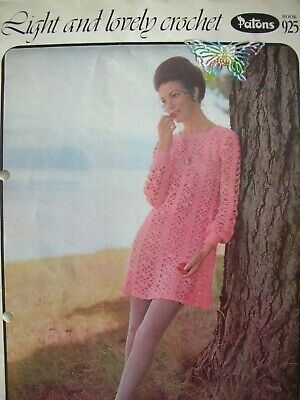 """Patons Crochet Pattern Book No.925 - LIGHT & LOVELY - 7 Designs 32 to 40"""" Bust"""
