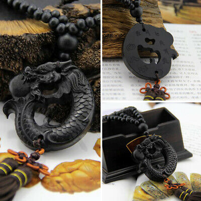 Car Pendant Ebony Wood Hang Decorations Chinese Fengshui Dragon Sculpture Crafts