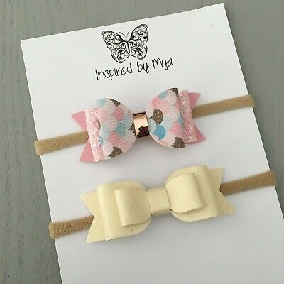 2x Baby Girls Newborn Toddler Leather Bow Headband Glitter Rose gold pink Ivory