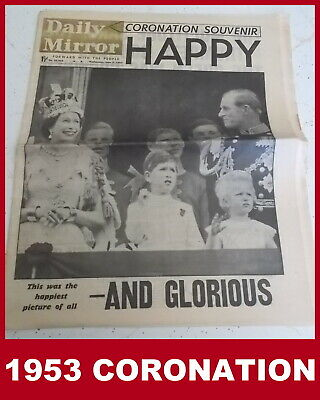 Queen Elizabeth II - DAILY MIRROR CORONATION SOUVENIR NEWSPAPER - 1953 - Vintage