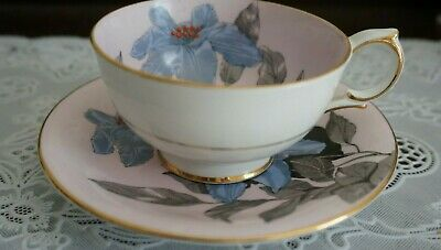 VINTAGE WINDSOR Bone China Pale Violet Floral Tea Cup and Saucer Set, England