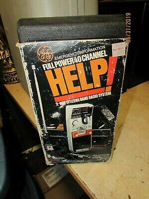 Vintage HELP GE Emergency 3-5900 Full Power 40 Channel CB Radio With Hard Case