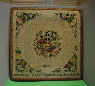 Sample Early Victorian wool work panel dated 1837, further embroidered