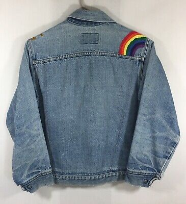 Vintage Levi's Denim Jacket 80's Orange Tab Custom Rainbow Stitched Beaded Girls
