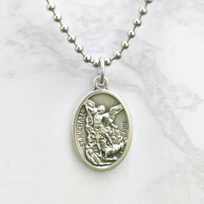 """Patron Saint St Michael Pray For Us 1"""" Medal Pendant Necklace 24"""" Chain Italy"""
