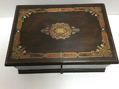 Quality Antique Inlaid Brass,Mother Of Pearl And Burr Walnut Jewellery Box & Key