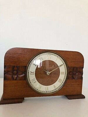 Vintage Retro Wooden Mantle Wind Up Clock Made in Great Britain 1950's / 70's