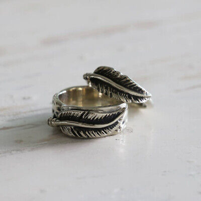 feather eagle Ring Angel Wings Owl Boho handmade Girl silver gift couple Double