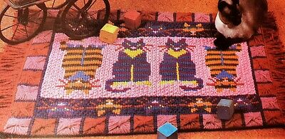 Stitched Cat S Rug, Latch Hooking  Cross Stitching Plastic Canvas Pattern