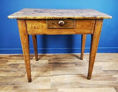 Antique / Country Elm Side Table Circa 1860 / Kitchen Table / Lamp Table