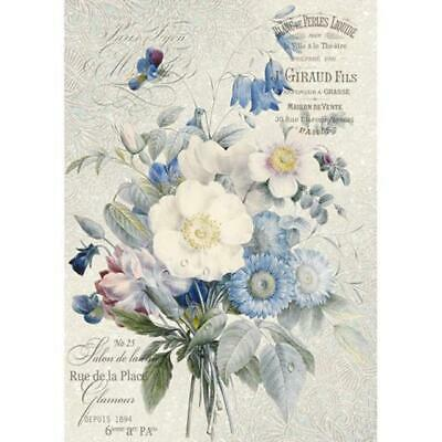 Rice Paper - Decoupage - Stamperia - 1 x A4 Size Sheet - Blue Bouquet