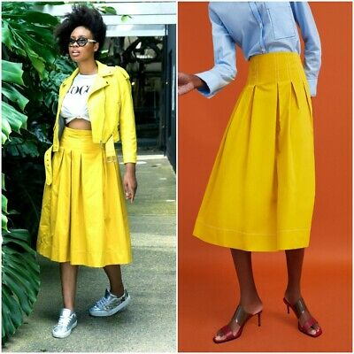 8b02c540 Zara Woman Mustard Yellow Midi Skirt With Contrasting Topstitching Size M