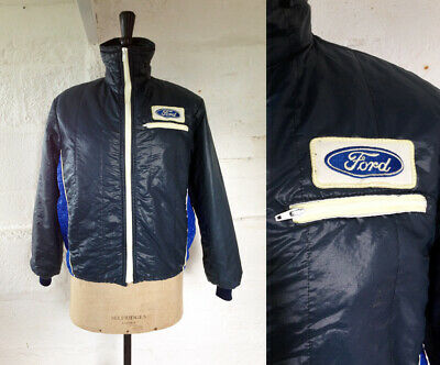 Vintage 1970s-80s 'Ford' Navy Quilted Funnel Neck Rally Racing Jacket Size 12