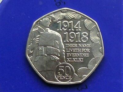 2018 ISLE OF MAN 50p FIFTY PENCE WW1 ARMISTACE DAY REMEMBRANCE