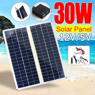 30W 12V/5V IP65 Foldable Solar Panel Dual USB For Battery Charge With Light Bulb