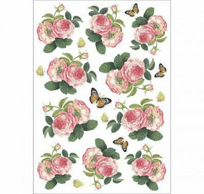 Rice Paper - Decoupage - Stamperia - 1 x A4 Size Sheet - Roses & Butterflies