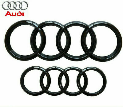 Audi Gloss Black Front Rear Grille Bonnet Badge Rings A1 A3 A4 S3 S4 273mm 193mm