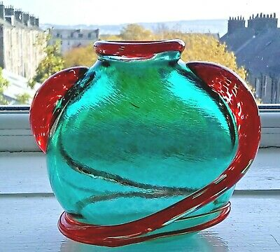 Mid Century Murano Glass Green Vase with Applied Red 'Tadpoles' 10.5 cm high
